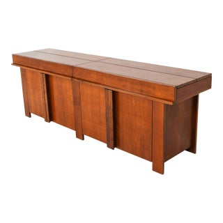 Large Mid Century Modern Credenza in Solid Elm - 1960s For Sale