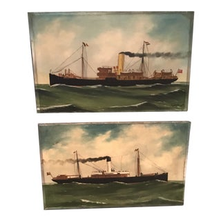 Early 20th Century Maritime Nautical Oil Paintings by Alfred Jansen - a Pair For Sale
