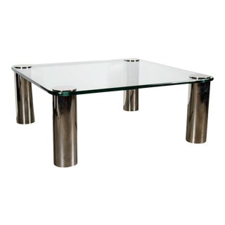 Mid-Century Modernist Cocktail Table with Cylindrical Brushed Nickel Legs For Sale