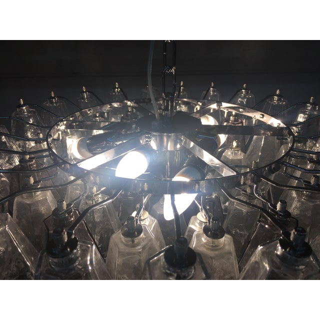 Violet and Clear Poliedro Murano Glass With Chrome Frame Sputnik Chandelier For Sale - Image 11 of 13