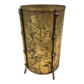 Late 20th Century Gilded Faux Bamboo Waste Basket For Sale