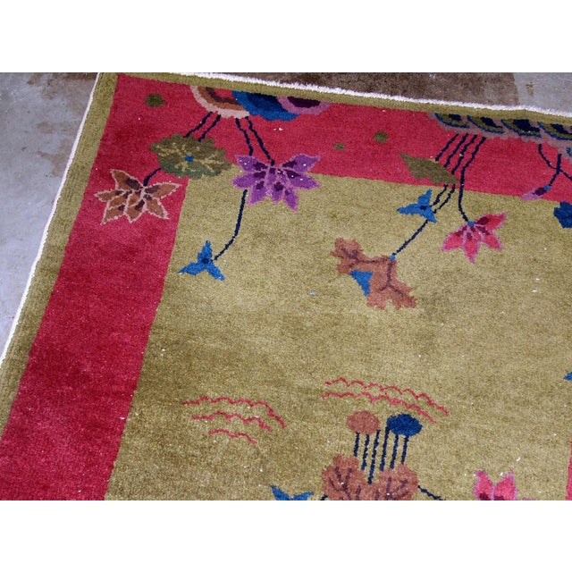 1920s, Handmade Antique Art Deco Chinese Rug 3.1' X 4.10' For Sale In New York - Image 6 of 11