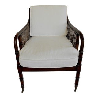 1960s Regency Style Faux Bamboo and Cane Arm Chair For Sale
