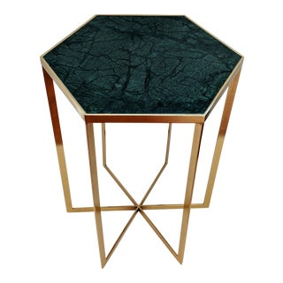 Polished Brass and Emerald Green Marble Side Table