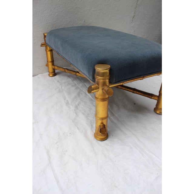Mid 20th Century Gilt Faux Bamboo Bench For Sale - Image 5 of 11