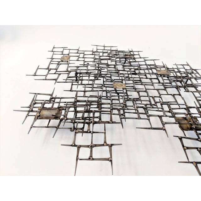 Mid-Century Modern Bronze Brass Brutalist Nail Wall Sculpture For Sale - Image 3 of 12