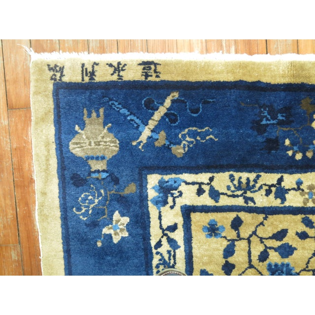 1920s Brown and Blue Antique Chinese Signatured Rug, 5' X 7'9'' For Sale - Image 5 of 9
