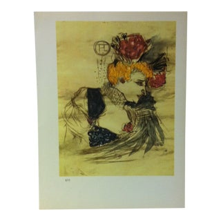 """Circa 1980 """"Marcelle Lender 1896"""" Color Print of a Toulouse-Lautrec Drawing For Sale"""