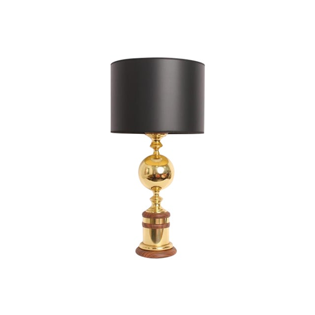 Vintage Mid-Century Gold Metal Table Lamp - Image 1 of 6