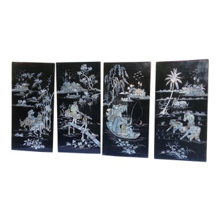 1960s Chinese Black Lacquer Sculptured Wall Panels - Set of 4- Last Mark Down For Sale