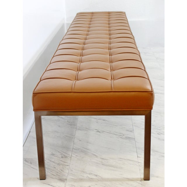1970s Mid-Century Modern X-Long Tufted Leather Museum Bench For Sale In Detroit - Image 6 of 13