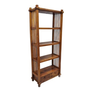 Tall Narrow Mission Arts & Crafts Style Teak Wood Bookcase Book Shelf Stand For Sale