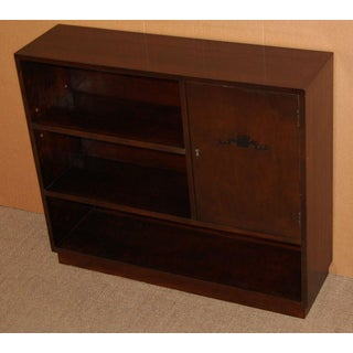 Swedish Art Deco Functionalist Dark Flame Birch Bookcase Cabinet Preview