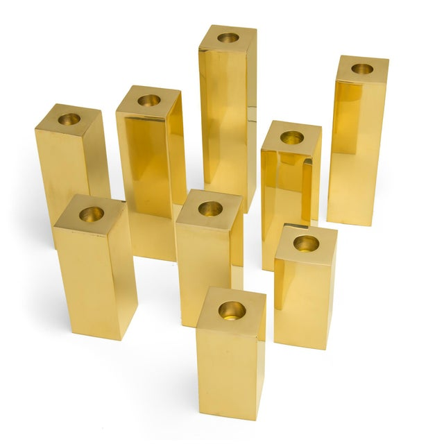 "Modern Jardins en Fleur ""Cityscape"" Brass Menorah Candlestick Holders , Set of 9 For Sale - Image 3 of 6"