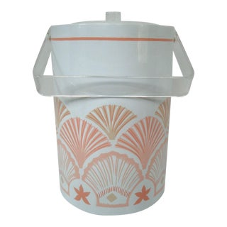 Tall Ice Bucket Pink SeaShells and Lucite For Sale
