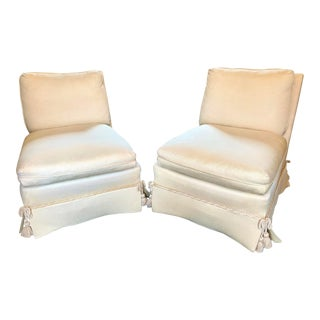 1990s of Baker Furniture Ivory Silk Upholstered Slipper Chairs - a Pair For Sale