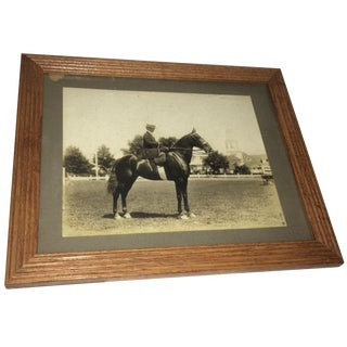 "Vintage ""Equestrian Lady Rider on Horse"" Photo in Oak Frame For Sale"