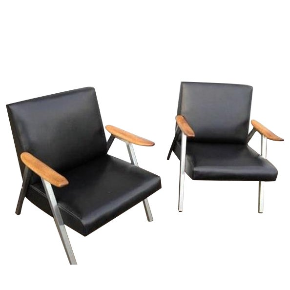 Mid-Century Low Vinyl Black Chairs - A Pair For Sale
