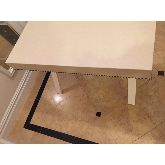 Custom Ivory Leather Desk with Nailhead Trim - Image 7 of 9