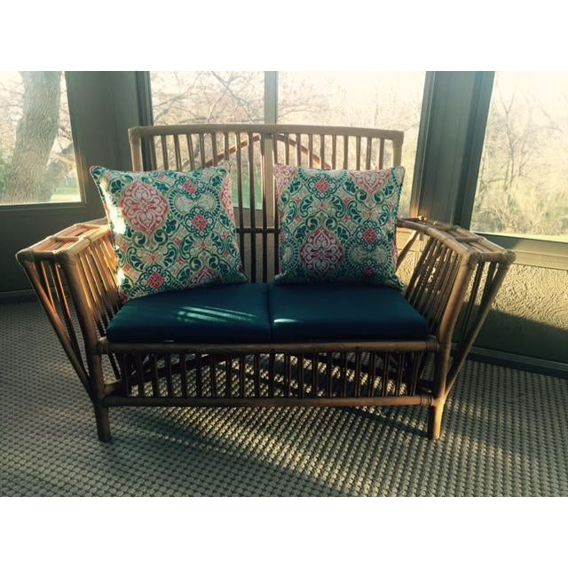 Rattan Settee Matching Coffee Table Ottoman Chairish