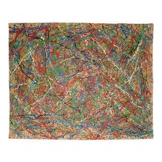 """""""Composition"""" Abstract Expressionist Mixed-Media Drip Painting in the Style of Jackson Pollock For Sale"""