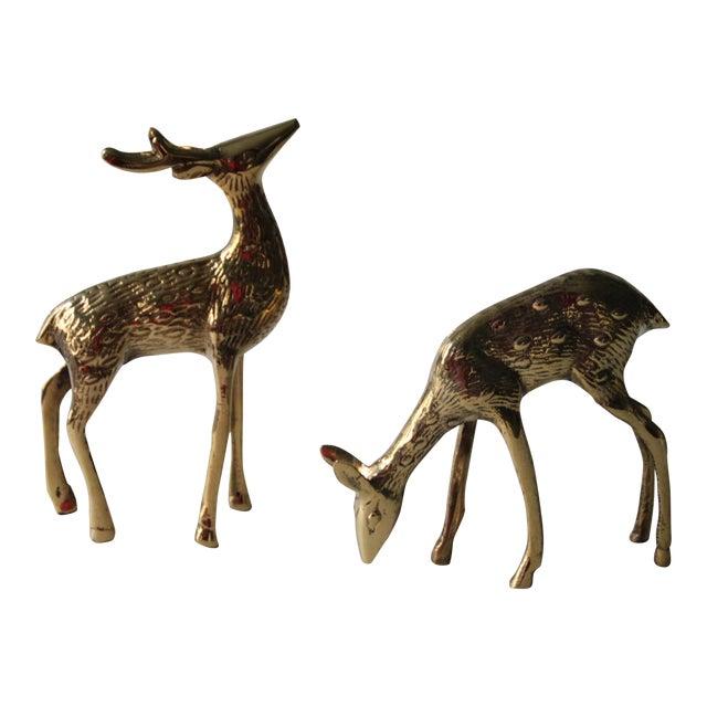 Vintage Brass Deer - A Pair - Image 1 of 4