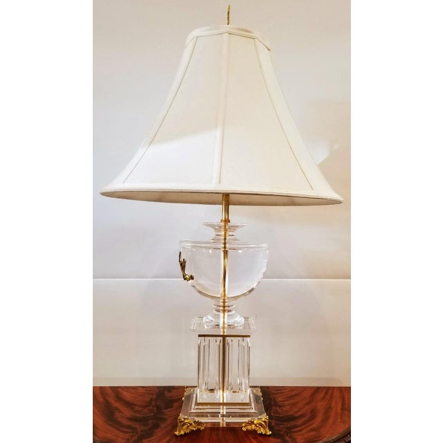 Mid 20th Century Neoclassic Greek Revival Lucite and Gilt Table Lamp With Sphinx and Lyre For Sale - Image 5 of 10