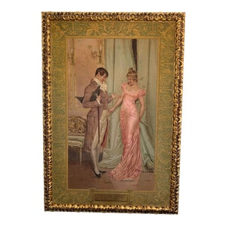 Late 19th Century Victorian Figurative Painting on Wool, Framed For Sale