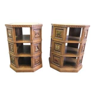 Romweber Mid Century Carved Oak Zodiac Tables - a Pair For Sale