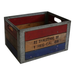 Early 20th c. Painted Wood and Steel Milk Crate c. 1940s