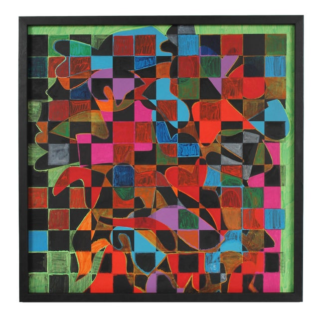 Abstract Geometric Abstract With Squares Acrylic Painting, Circa 1970s For Sale - Image 3 of 3