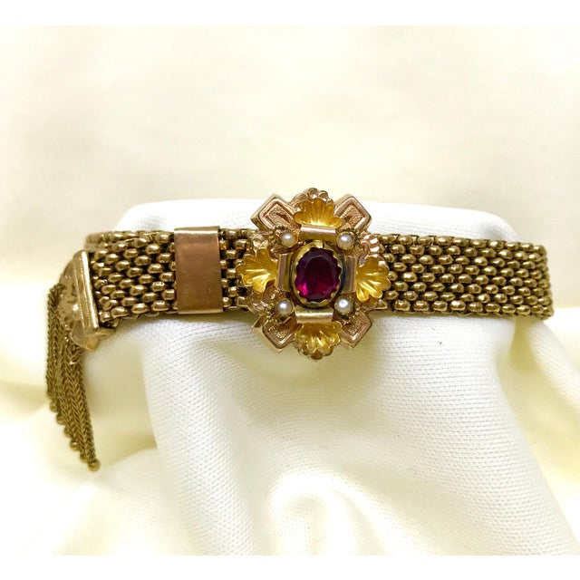 Victorian Garnet and Pearl Gold Filled Tassel Slide Bracelet For Sale In Los Angeles - Image 6 of 8
