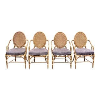 Vintage McGuire Rattan Cane Back Dining Chairs - Set of 4