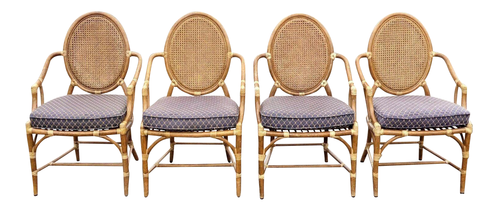 Beau Vintage McGuire Rattan Cane Back Dining Chairs   Set Of 4