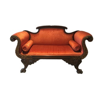 Federal Settee with Rope and Dolphin Carved Frame For Sale
