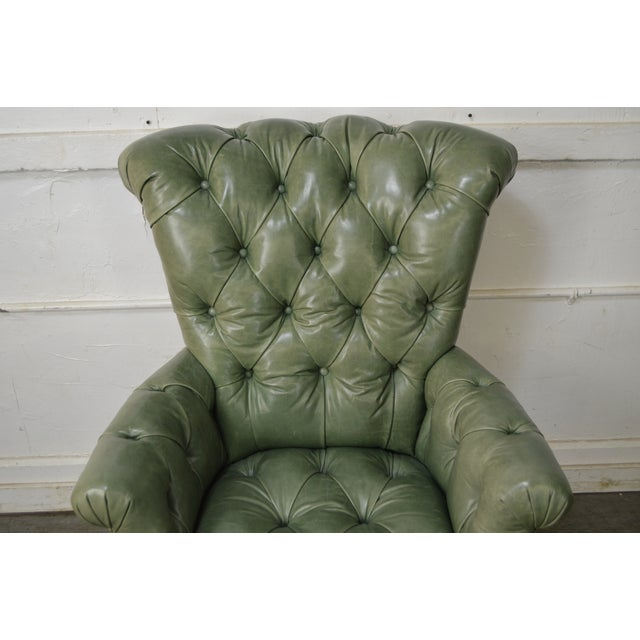 Regency Style Custom Quality Green Leather Tufted Library Wing Chair For Sale In Philadelphia - Image 6 of 13