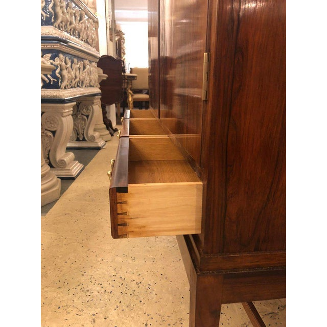 Two-Door Over Three-Drawer Mid-Century Modern Brazilian Rosewood Cabinet Chest For Sale - Image 9 of 13