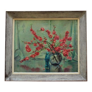1940s Chinese Asian Motif Still Life Painting Oil on Canvas Signed Margery Stocking Hart For Sale