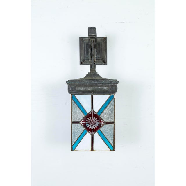 Blue, White & Deep Red Stained Glass & Bronze Lantern Sconce For Sale - Image 4 of 12