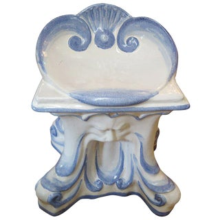 1940s Vintage Italian Glazed Terracotta Garden Stool For Sale