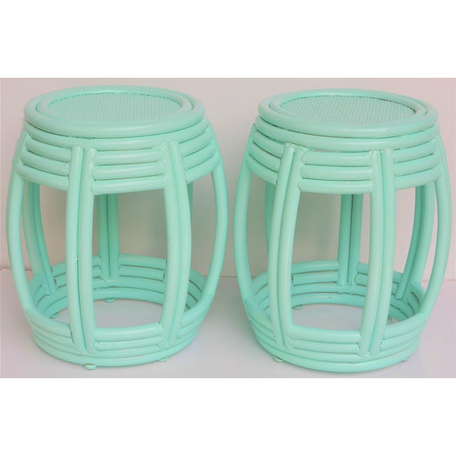 Handwoven Rattan Painted Barrel Tables / Stools - a Pair For Sale In Houston - Image 6 of 7