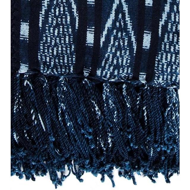 Guatemalan Indigo & White Ikat Blanket - Image 2 of 2