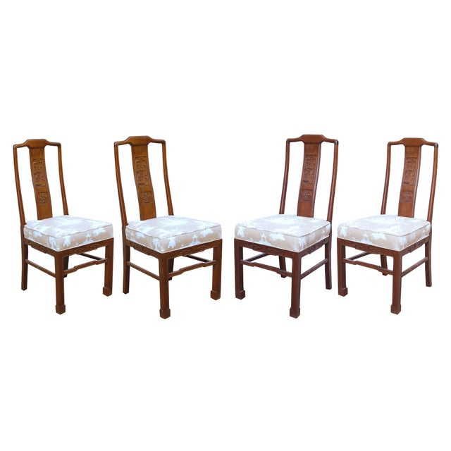 Wood Vintage Chinoiserie or Ming Style Dining Chairs in Reverse Toile - Set of 4 For Sale - Image 7 of 7