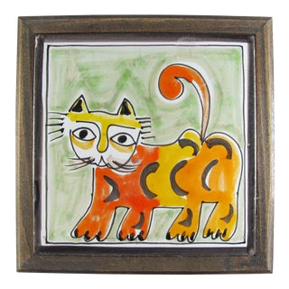 1960s DeSimone Hand Painted Tiger Lion Cat Ceramic Tile Wood Frame For Sale