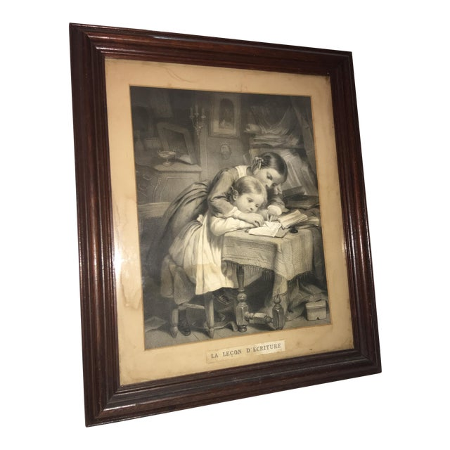 "19th Century ""The Writing Lesson"" Lithograph - Image 1 of 11"