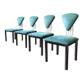 1980s Vintage Ettore Sottsass Style Memphis Chrome Dining Chairs- Set of 4 For Sale