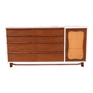 Mid-Century Modern Wood with Caning Dresser For Sale