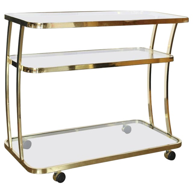 DIA Three-Tier Brass and Glass Bar, Drinks, Tea or Service Cart /Trolley - Image 1 of 11