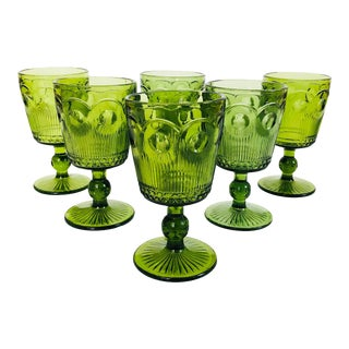 Mid Century Ornate Green Wine Glasses - Set of 6 For Sale