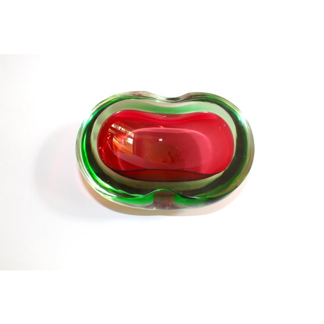Murano Glass Red and Green Sommerso Ashtray & Bowl, 1960's For Sale - Image 11 of 13
